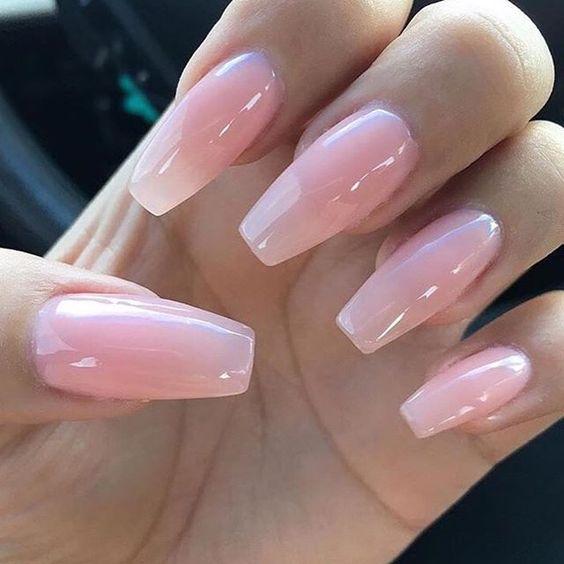 Cute pink nails; pink arcylic nails; almond nails; gel nails; glitter pink nails; matte pink nails; ombre nails.