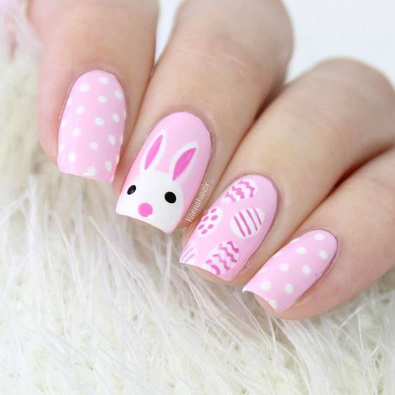 35 Cute and Easy Easter Nail Designs for 2019; bunny nails; cute nails; easy nails; short nails; flowers nails; fuzzy animals nails. Easter is all about flowers, fuzzy animals, candy and pastels. And all of these things you can painting nails, which would look amazing.