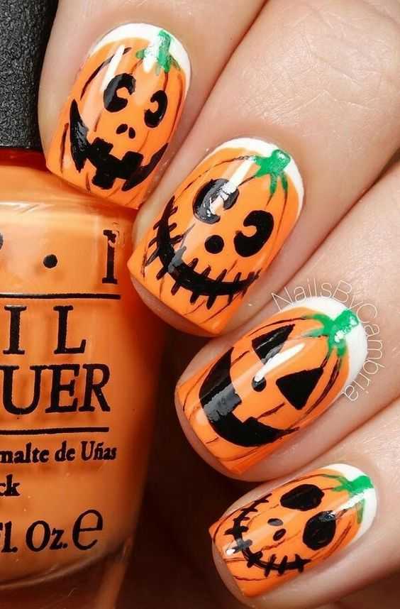 50 Cool and Creative Halloween Nails You'll Try; Halloween Chevron Nails; Pumpkin Nails; Halloween Nail Art: Bats; Zombie nails,Skull nails, witch nails, spider nails.