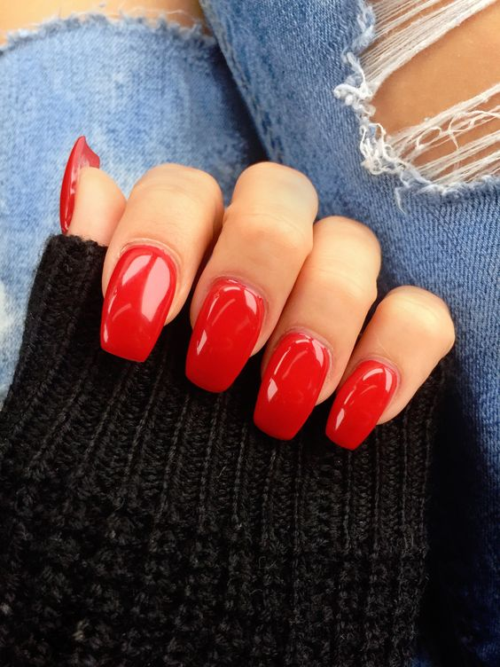 30 Eye-catching Red Nail Art Designs to Show Your Style; fire red nail; wine red nail; red coffin nails; red acrylic nails; red ombre nails; Christmas red nails.