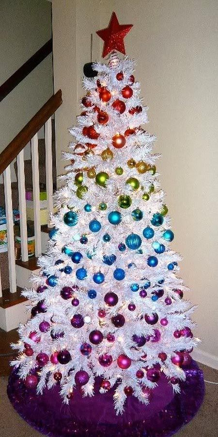 37 Awesome White Christmas Tree Designs for 2018; Colorful Christmas tree; Xmas tree; Beautiful Christmas tree decorations; Christmas decorations.