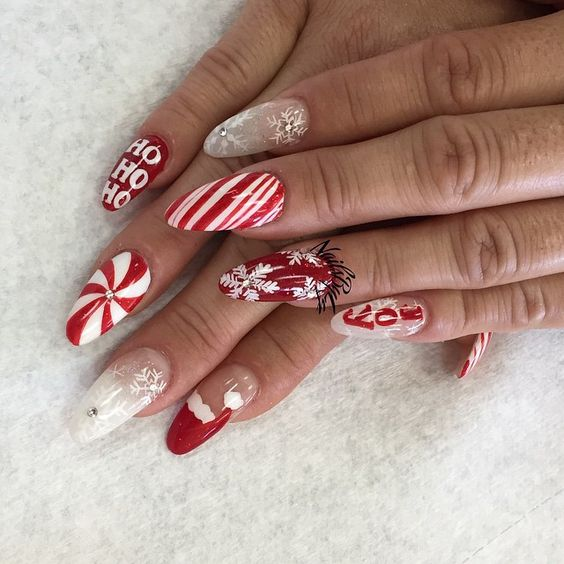 Christmas Nails Not Acrylic: 11 Most Beautiful And Elegant Christmas Stiletto Nail