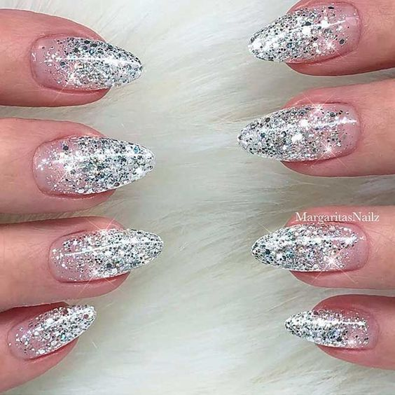 winter glitter nails; holiday nails; prom nails; wedding nail art designs; new year nails; Christmas glitter nails; glitter coffin nails; glitter acrylic nails; short glitter nails.