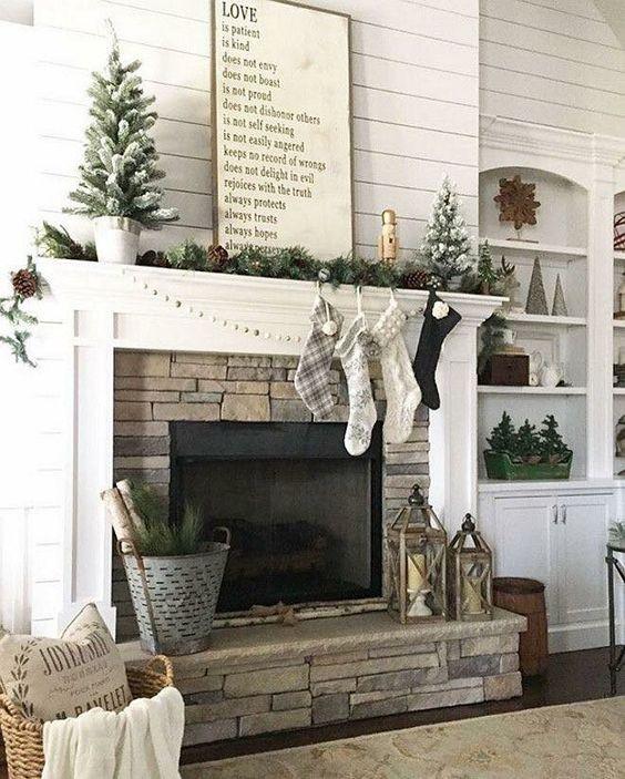 Farmhouse Christmas Mantel; traditional Christmas fireplace mantel; Rustic Christmas Mantel; fireplace christmas decor; Christmas mantel with TV; simple mantel decor.