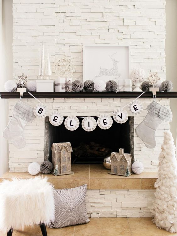 Farmhouse Christmas Mantel; traditional Christmas fireplace mantel; Rustic Christmas Mantel; fireplace christmas decor; Christmas mantel with TV; simple mantel decor.