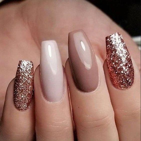 winter glitter nails; holiday nails; prom nails; wedding nail art designs; new year nails; Christmas glitter nails; glitter coffin nails; glitter acrylic nails; short glitter nails.